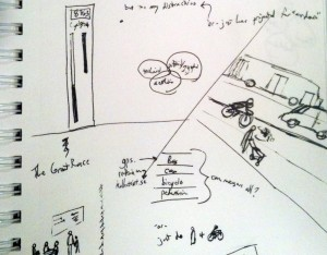 sketch of visualizing sustainaiblity in bicycling